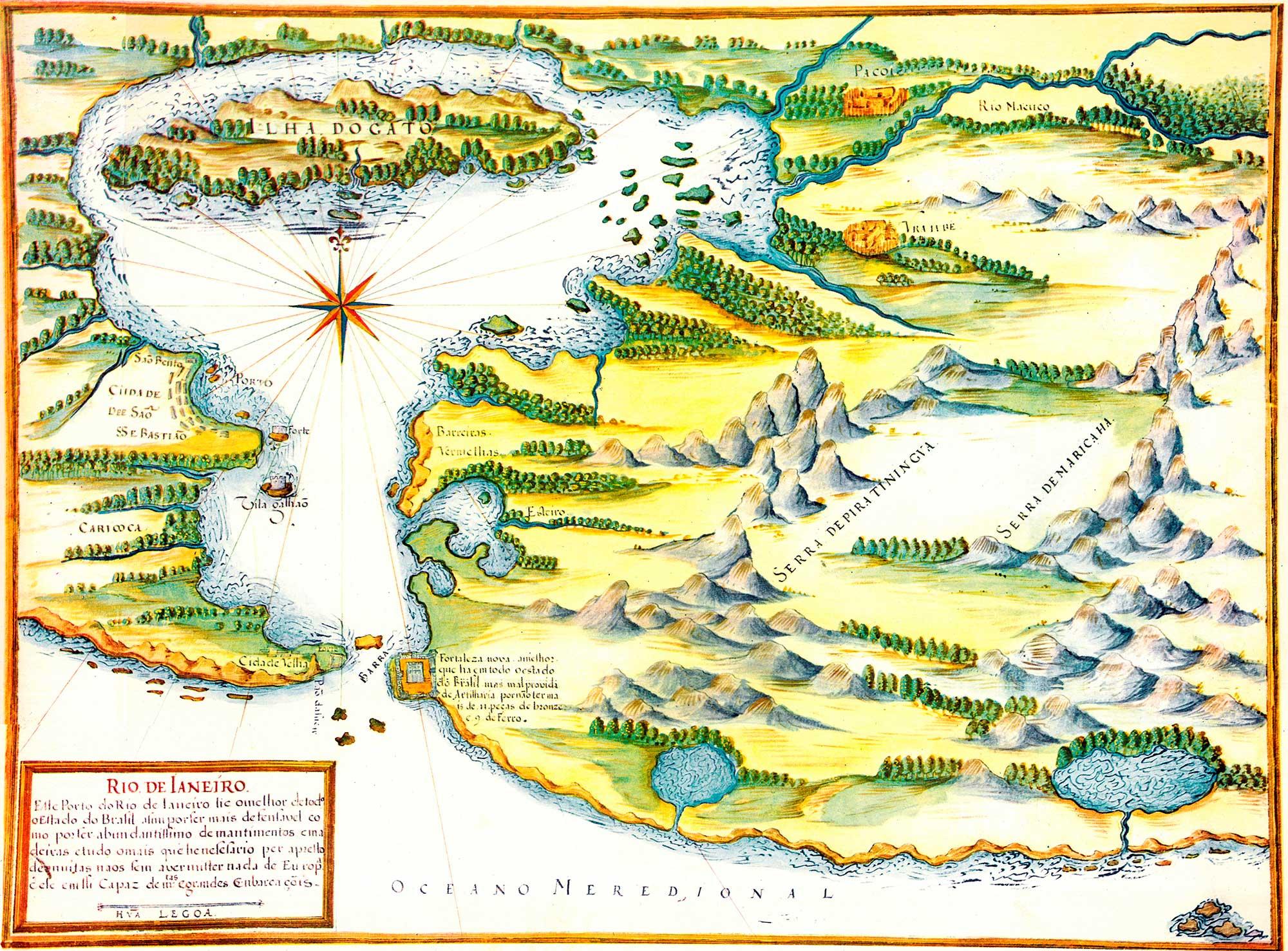 (2) Rio de Janeiro. Carta náutica <br> Reprodução de manuscrito do século XVII. Acervo particular