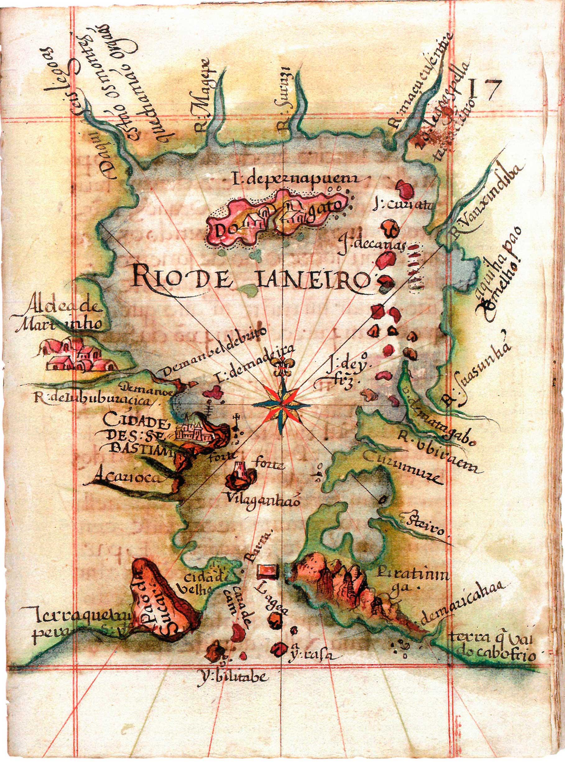 (1) Mapa da obra Roteiro de todos os Sinais, Conhecimentos... <br> Luiz Teixeira. Acervo da Fundação Biblioteca da Ajuda, Lisboa