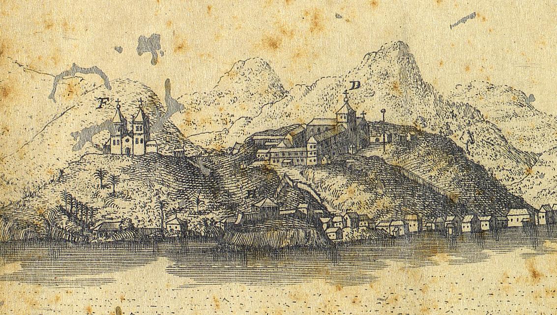 (1) Morro do Castelo. St. Sebastien. Ville Episcopale du Bréesil<br> François Froger. Acervo da Fundação da Biblioteca Nacional - Brasil