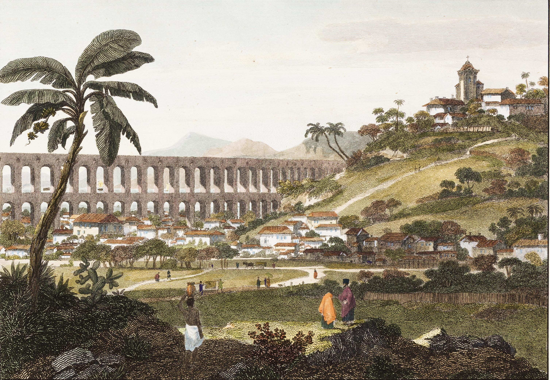 (2) The Aqueduct in Rio de Janeiro. William Alexander. Acervo da Pinacoteca do Estado<br> de São Paulo, Brasil. Coleção Brasiliana / Fundação Estudar. Doação da Fundação Estudar, 2007