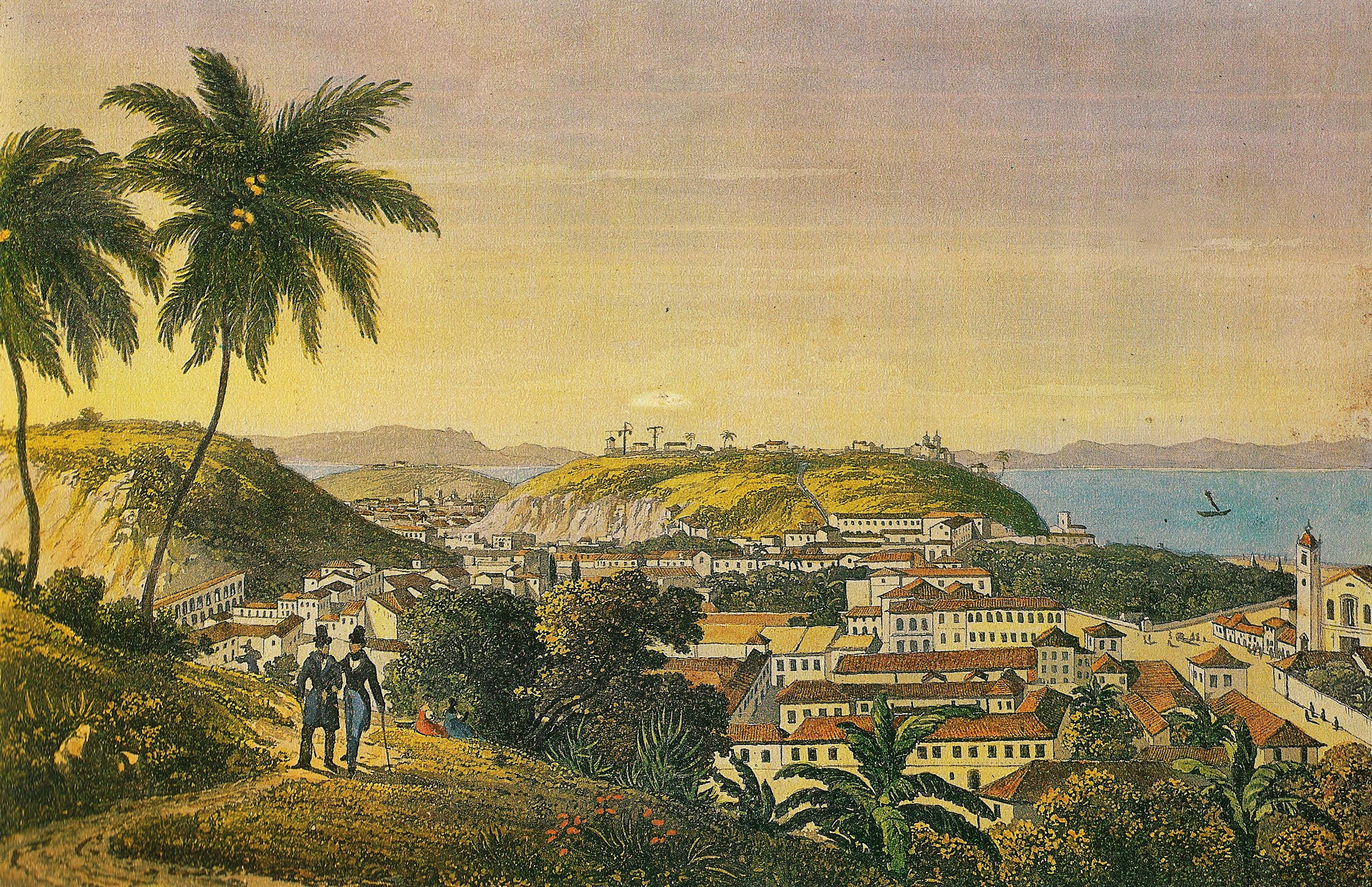 (1) Vista tomada de Sta. Tereza. Johann Jacob Steinmann. <br> Acervo da Fundação Biblioteca Nacional - Brasil