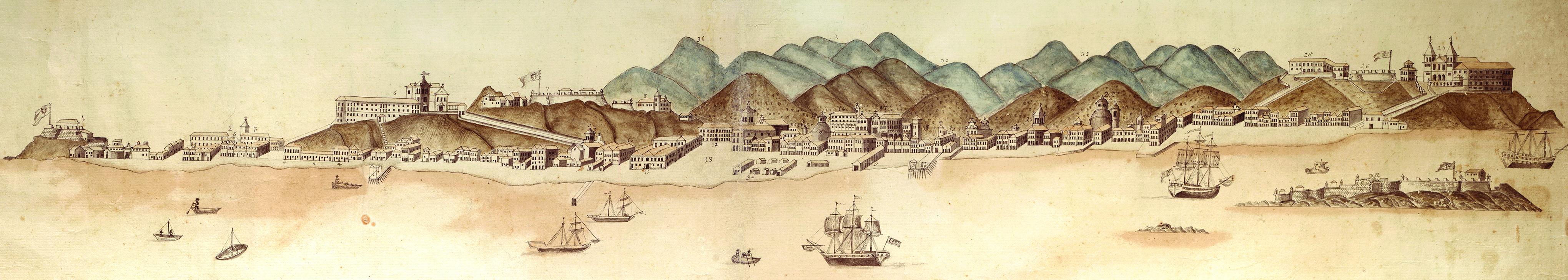 (1) Prospecto da cidade de S. Sebastião do Rio de Janeiro...<br> Luís dos Santos Vilhena. Acervo da Fundação Biblioteca Nacional - Brasil